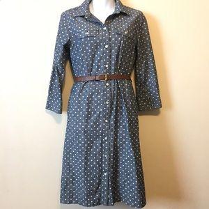 Polka dot chambray shirt dress
